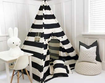 Handmade Teepee Play tent for Kids in Natural Unbleached Cotton Canvas with Black Stripes. Comes with Padded Mat Base and Two Pillows
