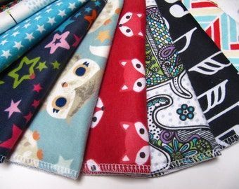 Cloth Napkins, 5 or 10 Neutral Mixed Prints Set, Eco-Friendly Napkins, Back To School Lunchbox Napkins