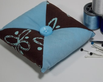 Quilted Square - Tirangular Patchwork Pincushion - Brown / Turquoise Butterfly / Pale Blue  - Poly-fil / Crushed Walnut Shell Filling