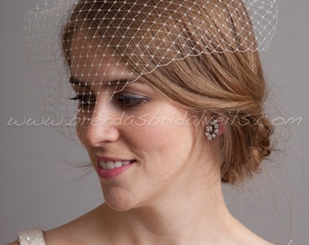 "11"" Angled Bridal Birdcage Veil,Wedding veil, White, Diamond White, Ivory or Black"