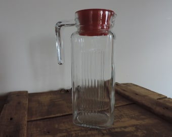 Vintage Glass Pitcher Beverage Container Pasabahce Glass Container Juice Server Refrigerator Water Pitcher Red Lid 32oz.