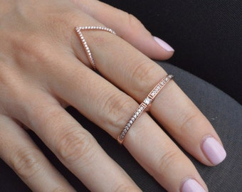 V Shaped Ring, Chevron Ring, Stacking Rings with V-Shaped Notches, Cubic Zirconia Layered Ring, Sterling Silver Ring