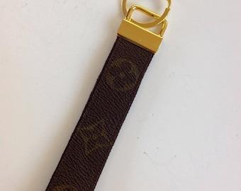 Repurposed Monogram Louis Vuitton Wristlet, Key Fob, Keychain.