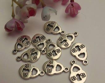 set of 12 silver padlock charms