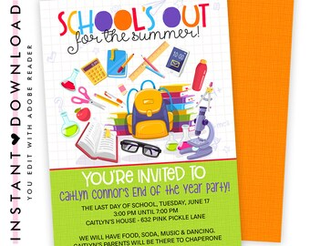 Back to School Invitations / Back to School Party Invitation / School Invitation / School Party / Back to School Bash / School Party | 632