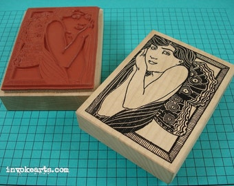 Butterfly Girl ATC Stamp / Invoke Arts Collage Rubber Stamps