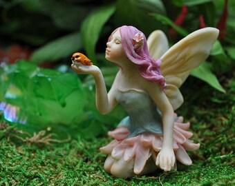 Miniature Dollhouse FAIRY GARDEN ~ Mini Flower Fairy with Bird