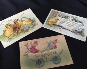 Set of 3 Antique/Vintage Early 1910's Easter Postcards with Chicks & Great Old Handwriting