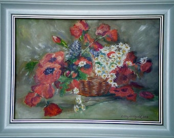poppies chamomile bouquet basket impressionism oil