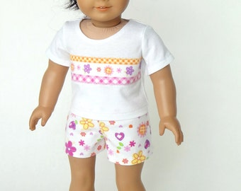 18 Inch Doll Clothes -- Pajama T-Shirt and Shorts -- 2 Piece Outfit (5-05)
