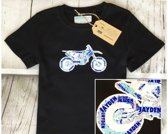 Personalised Dirt Bike Name Kids & Baby  Birthday Gift T-shirt, One-piece, Romper, Bodysuit, Onesie, Custom Made Print