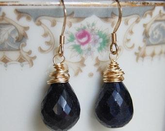 Sapphire Earrings , 14K Gold Filled Earrings , Gemstone Earrings , September Birthstone Earrings