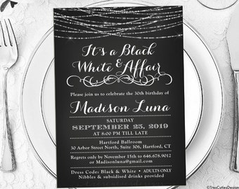 Its a Black and White Affair Party Invitations - Black and White Invitation - Printable