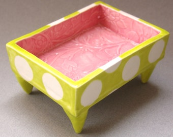 shabby chic floral embossed Pottery Dish :) Alice in Wonderland Pink & chartreuse polka dots
