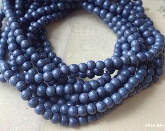 4 mm Slate Blue Turquoise Gem Stone Beads(gz sdu - .mthc)