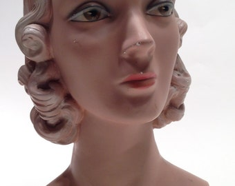1930'S Display Mannequin Bust//Original//not a reproduction// Hand Painted