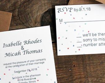 confetti polka dot wedding invitation set - 50 invitations and response cards wedding stationery