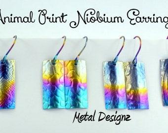 Rainbow Animal Prints Rectangle Niobium Earrings - Hypoallergenic & Unique