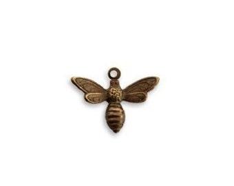3 ea Vintaj Busy Brass Bee Charm
