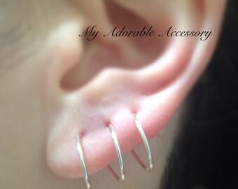 Triple Pierced Twist in Earrings, Spiral Earrings