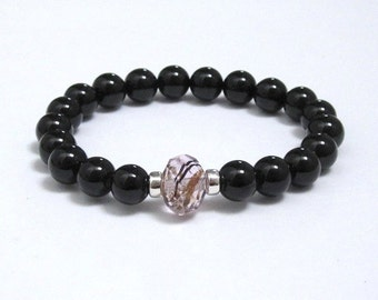 Unique Lampwork Glass Bead, Onyx Healing Chakra Gemstones Sterling Silver Beaded Bracelet, Mala Beads, Birthday Gifts for Mom, Bride, Wife