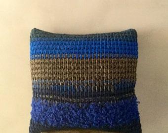 Hand Knit Throw Pillow Cover striped pillow case stripe throw pillow green brown orange crochet pillow decorative boho pillow linen knit