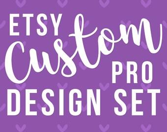 Custom Shop Design Package, Shop Cover Banner Set, Etsy Business Set, Etsy Branding Set, Etsy Business Card, Etsy Banner Shop, Retro Banners