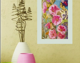 Mexican flower ORIGINAL painting watercolor painting original Watercolor plants painting watercolor  painting