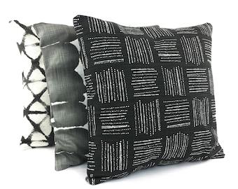 Designer Black Throw Pillow COVERS Decorative Throw Pillow Black White Linen Accent Couch Sofa Pillow Black Shibori Pillows Bed Cushion Sham