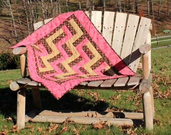 Baby Quilt Brown Pink and Beige Baby Girl Crib Quilt