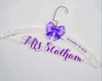 Unique Wedding Shower Gift, Personalized Wedding Hanger, Bridal Hanger, Clear Acrylic Wedding Dress Hanger, Gift for Bridal Party TM003
