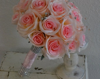 HUGE SALE! Pink Rose Silk Bridal Bouquet with Rhinestone Bling Chic Wedding Bouquet and Boutonniere Set