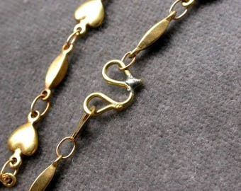 brass chain with clasp 45 cm heart