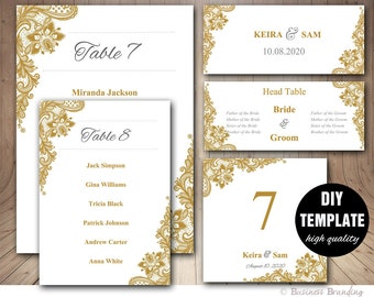 Gold Wedding Seating Chart Template Set,Wedding Place card Template,Gold Wedding,Wedding Table List Template,Gold Seating Chart,Gold Lace