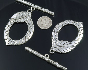 Extra Large Etched Leaf Silver Plated Pewter Toggle Clasps 54mm x 33mm - 2 sets