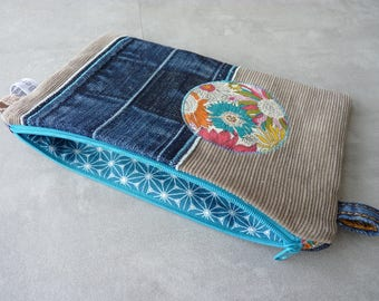 Flat clutch in denim and recycled corduroy