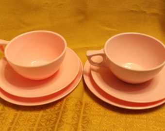 Pink retro Melmac dishes, Sun Valley melmac, vintage melmac cups, saucers, plates , pink melamine cups, saucers, plates glamping kitchenware