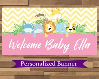 """18""""x36"""" Personalized Chevron Party Banner   Baby Shower Banner   Safari Theme Party Decor   Welcome Baby Party Decor   Jungle Party"""