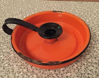 Vintage orange enamel candle holder