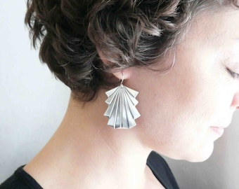Large silver earrings Art deco earrings Large earrings Silver dangles Big earrings Art deco dangles Lightweight Pretty sterling silver wires