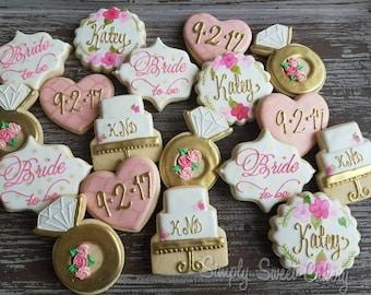 Floral bridal shower cookies  (70 cookies)
