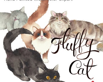 Fluffy Cat Clip Art / Hand Painted Watercolor Clipart