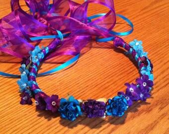 Flower Girl Head Wreath - Crown Head Piece Bridal Floral Ribbon Crown Halo Wreath Garland turquoise purple C-Denise