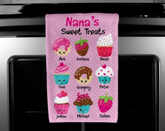 Grandma's sweet treats show towel, mother day gifts, sweet treats kitchen towel, grandma gifts, grandkids names on towel, kitchen hand towel