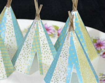 Edible Teepee's 3D 5 Boho Golden Blue Stars Tipi Wafer Paper Bohemian Wedding Cake Decoration Wild Rustic Birthday Cupcake Topper Cookie RTD