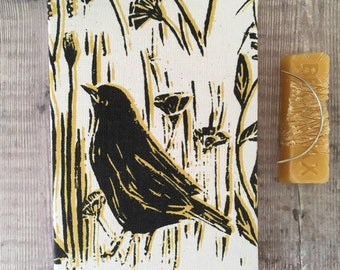 A6  British Birds Hedgerow design Journal, Lou Tonkin fabric -  Notebook, Diary, Sketchbook, Handmade, Hand bound, Open spine
