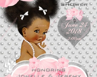 Baby Shower Invitations, Personalized, Printable, African American Baby Girl, style 088PSGbsi-aa pink,silver,gray, white,pearls, pink flower