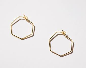 Hexagon -earrings (14K gold plated & silver geometrical shape hoop earrings)