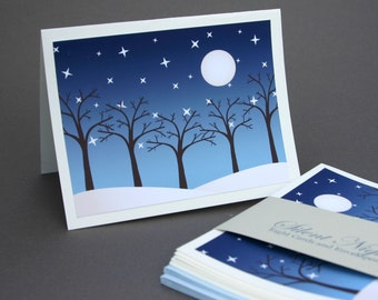Silent Night Cards, Blue Winter Snow Moon Tree Woodland Rustic Landscape Stationery Set Stationary Set
