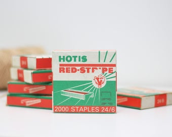 Vintage red stripe copper staples